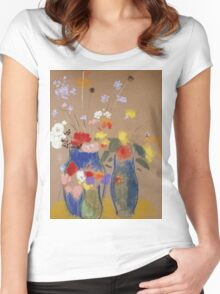 Odilon Redon - Three Vases Of Flowers. Still life with flowers: flowers, blossom, nature, botanical, floral flora, wonderful flower, plants, cute plant for kitchen interior, garden, vase Women's Fitted Scoop T-Shirt
