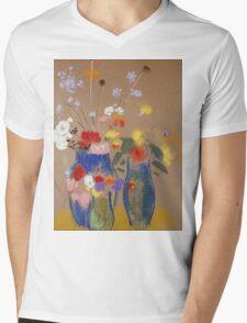 Odilon Redon - Three Vases Of Flowers. Still life with flowers: flowers, blossom, nature, botanical, floral flora, wonderful flower, plants, cute plant for kitchen interior, garden, vase Mens V-Neck T-Shirt
