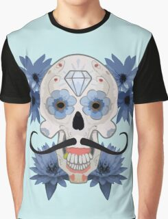 Day of the Dead Sugar Skull with Mustache Graphic T-Shirt