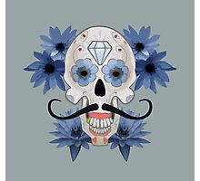 Day of the Dead Sugar Skull with Mustache Photographic Print