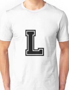 """Letter """"L""""  - Varsity / Collegiate Font - Black Print Unisex T-Shirt"""