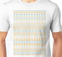 Aztec Influence Pattern II Blue and Gold on White Unisex T-Shirt