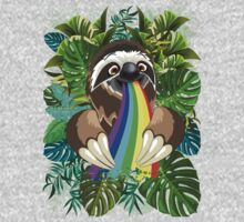 Sloth Spitting Rainbow Colors One Piece - Long Sleeve