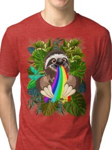 Sloth Spitting Rainbow Colors Tri-blend T-Shirt