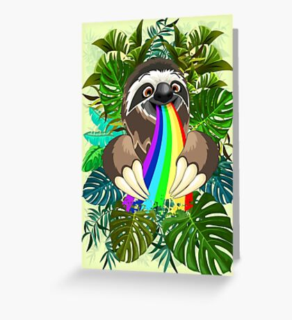Sloth Spitting Rainbow Colors Greeting Card