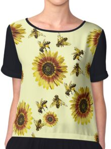 Yellow Sunflowers and Honey Bees Summer Pattern Chiffon Top