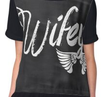 rustic Valentine's Day chalkboard scripts honeymoon bride wifey Chiffon Top