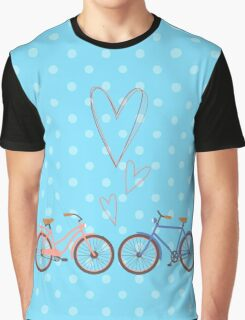 Bike lovers. Blue polka dots background. Graphic T-Shirt