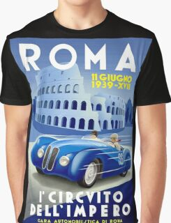 """ROMA VINTAGE GRAND PRIX"" Auto Racing Print Graphic T-Shirt"