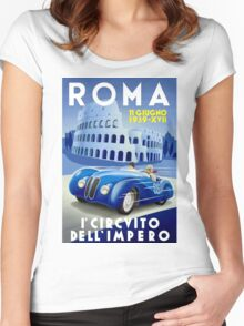 """ROMA VINTAGE GRAND PRIX"" Auto Racing Print Women's Fitted Scoop T-Shirt"