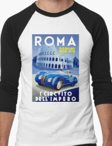 """ROMA VINTAGE GRAND PRIX"" Auto Racing Print Men's Baseball ¾ T-Shirt"
