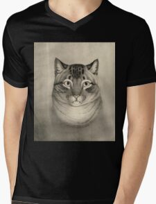 Unknown - A Favorite Cat, 1830-1840. Cat portrait: cute cat, kitten, kitty, cats, pets, wild life, animal, smile, little, kids, baby Mens V-Neck T-Shirt