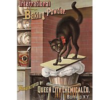 Unknown - Advertisement For International Baking Powder.. Cat portrait: cute cat, cook,  kitchen,  cafe,  restaurant,  dough,  cake,  buns,  biscuit, dessert, sweet Photographic Print