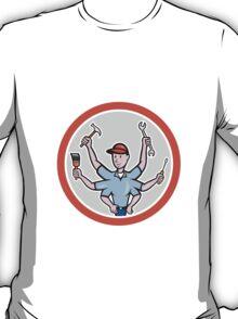 Tradesman Worker Six Hand Cartoon T-Shirt
