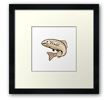 Rainbow Trout Jumping Cartoon Framed Print