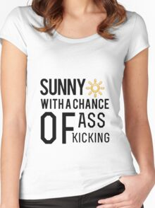 How's the weather in your world? Women's Fitted Scoop T-Shirt