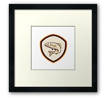 Rainbow Trout Jumping Cartoon Shield Framed Print