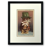 Unknown - Cat Wearing A Hat. Cat portrait: cat, whiskered, striped, important, clever, proud, fat, fashionable, stylish, hat, bow Framed Print