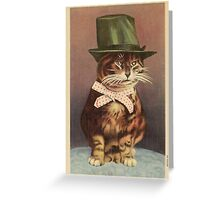 Unknown - Cat Wearing A Hat. Cat portrait: cat, whiskered, striped, important, clever, proud, fat, fashionable, stylish, hat, bow Greeting Card