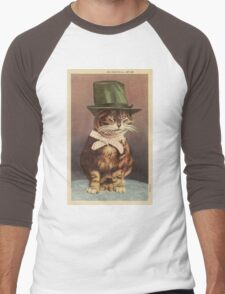 Unknown - Cat Wearing A Hat. Cat portrait: cat, whiskered, striped, important, clever, proud, fat, fashionable, stylish, hat, bow Men's Baseball ¾ T-Shirt