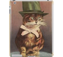Unknown - Cat Wearing A Hat. Cat portrait: cat, whiskered, striped, important, clever, proud, fat, fashionable, stylish, hat, bow iPad Case/Skin