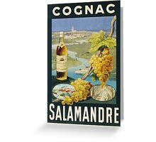 Unknown - Cognac Salamandre Poster. Still life with fruits and vegetables: alcohol, bottle, wineglass, pleasure, fruit, grapes, meeting, output, party,  cafe,  restaurant Greeting Card