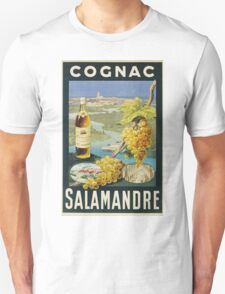 Unknown - Cognac Salamandre Poster. Still life with fruits and vegetables: alcohol, bottle, wineglass, pleasure, fruit, grapes, meeting, output, party,  cafe,  restaurant Unisex T-Shirt