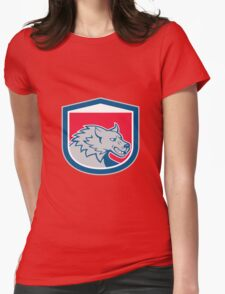 Angry Wolf Wild Dog Head Shield Cartoon Womens Fitted T-Shirt