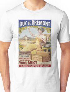 Unknown - Duc De Bremont - Veuve Amiot. Woman portrait: sensual woman,  bunch,  grapes,  lovely woman,  enjoying ,  champagne,  beautiful ,  bottle ,  market, sexy lady, erotic pose Unisex T-Shirt