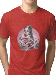 Girl with red fox Tri-blend T-Shirt
