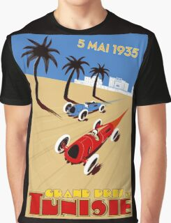 """TUNISIE GRAND PRIX"" Automobile Race Print Graphic T-Shirt"
