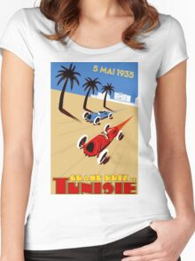 """TUNISIE GRAND PRIX"" Automobile Race Print Women's Fitted Scoop T-Shirt"