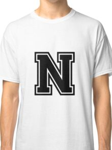 """Letter """"N""""  - Varsity / Collegiate Font - Black Print Classic T-Shirt"""