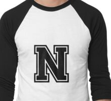 "Letter ""N""  - Varsity / Collegiate Font - Black Print Men's Baseball ¾ T-Shirt"