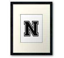 """Letter """"N""""  - Varsity / Collegiate Font - Black Print Framed Print"""