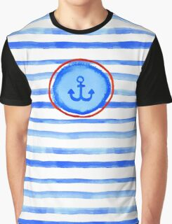 Stripes and anchor. Graphic T-Shirt