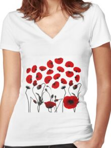 Modern Black and Red Flowers and Petals Women's Fitted V-Neck T-Shirt