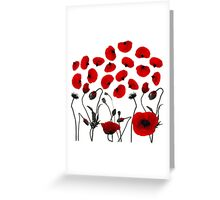 Modern Black and Red Flowers and Petals Greeting Card
