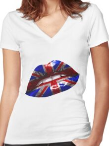 Union Jack Graphic Design Women's Fitted V-Neck T-Shirt