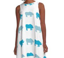Seamless African Rhinoceros Background. Animal Pattern A-Line Dress