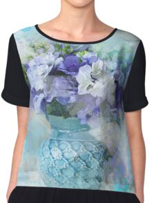 shabby chic french country blue watercolor flowers Chiffon Top