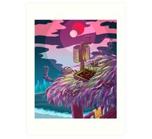 Flamingo Planet Vacations! Art Print