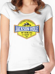 JACKSON HOLE WYOMING Mountain Skiing Ski Snowboard Snowboarding 2 Women's Fitted Scoop T-Shirt