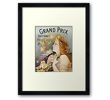 Unknown - Grand Prix Poster. Woman portrait: sensual woman,  attractive,  beautiful ,  brunette ,  cheerful,  glad ,  happy,  head and shoulders,  hugging,  pleasing,  pleasure Framed Print