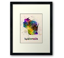 Wisconsin US state in watercolor Framed Print