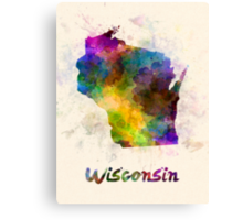 Wisconsin US state in watercolor Canvas Print