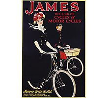 Unknown - James - The King Of Cycles & Motorcycles Poster. Woman portrait: sensual woman,  bicycle ,  bicycling ,  cycle,  cycling,  enjoy,  free time,  fun,  hobbies,  hobby,  holiday Photographic Print
