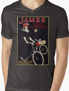 Unknown - James - The King Of Cycles & Motorcycles Poster. Woman portrait: sensual woman,  bicycle ,  bicycling ,  cycle,  cycling,  enjoy,  free time,  fun,  hobbies,  hobby,  holiday Mens V-Neck T-Shirt