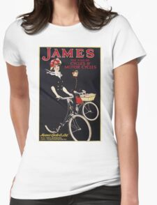 Unknown - James - The King Of Cycles & Motorcycles Poster. Woman portrait: sensual woman,  bicycle ,  bicycling ,  cycle,  cycling,  enjoy,  free time,  fun,  hobbies,  hobby,  holiday Womens Fitted T-Shirt