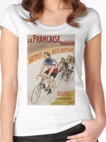 Unknown - La Francaise Diamant Poster. People portrait: man, bicycle ,  bicycling ,  cycle,  cycling,  enjoy,  free time,  fun,  hobbies,  hobby,  holiday Women's Fitted Scoop T-Shirt
